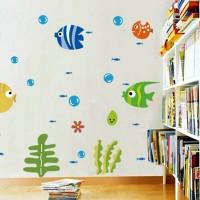 Stiker Dinding Decal Desain Tropical Fish Bubble untuk Kamar Anak