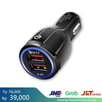 New QC3.0+3.1A car charger Dual USB 6A car charger cigarette lighter - Hitam