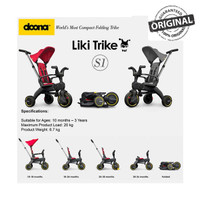 Doona Liki Trike S1 Compact Folded Tricycle 5-in-1 Travel Stroller Kid