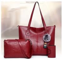 Tas wanita import set tas bahu tas selempang kulit PU tas tote bag 139