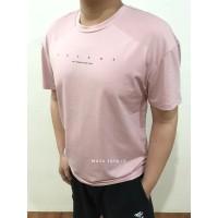 Kaos dewasa u-neck import LM (t-shirt) - M, Merah Muda