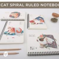 Lazy Cat Spiral Ruled Notebook A5
