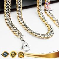 Kalung Titanium Asli Pipih Kombinasi 75cm - VeE Kalung Pria Wanita