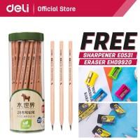 Deli Pensil kayu/ Pencil - 2B 50pcs/tabung - Sudah diasah 58118