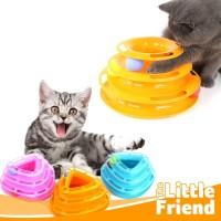 Mainan Kucing Bola Tower Interaktif Puzzle 3 Lapis Bentuk Segitiga