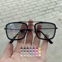 kacamata pria tony stark lensa warna plus minus silinder