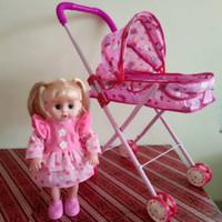 Mainan Stroller Boneka Lovely Baby Dorongan Baby