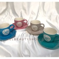 mug gelas + piring keramik coffee time set (4 pcs) READY STOCK