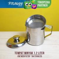 Tempat Minyak Saringan Oil Pot 1.2 Liter Stainless Wadah Minyak Bekas