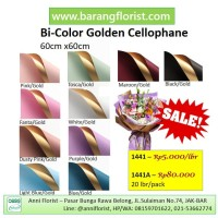 Bi-Color Golden Cellophane (1441A), 20 lbr/pack, Aksesoris toko bunga