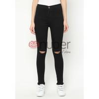 Nuber 1 Celana Panjang Jeans Highwaist Wanita Hitam Stretch -Gazania