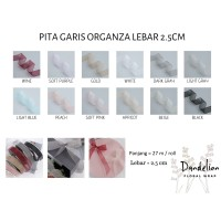 Pita Bunga Kado Garis Organza 2.5 CM Per Meter
