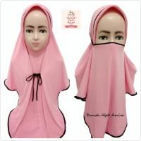 Jilbab Instan Masker Hijab Anak Niqob Tanggung 3in1 - Lime