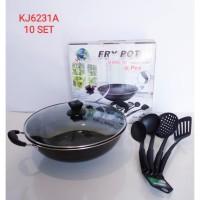 Fry Pot ( Wajan Enamel ) + Spatula 4PCS