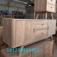 Bufet Tv Credenza Jati Lemari Laci Cabinet Minimalis Drawer Classic