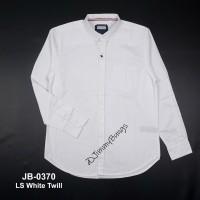 kemeja pria putih polos lengan panjang + slim fit + baju kerja cowok