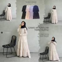 Baju Gamis moonflow triple ruffle / Pakaian Wanita / Dress