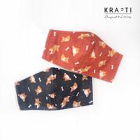 Krafti - Masker DEWASA/ Motif Corgi / Masker 2 ply with filter pocket