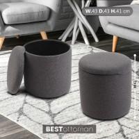 Kursi sofa bulat pouf penyimpanan Bestottoman - Kain Abu