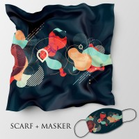 Jilbab motif dan masker headloop ukuran 90x90 cm - Abstrak 3a