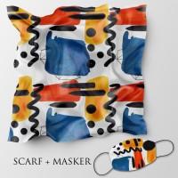 Jilbab motif dan masker headloop ukuran 90x90 cm - Abstrak 5a