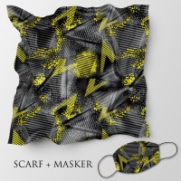 Jilbab motif dan masker headloop ukuran 90x90 cm - Abstrak 5c