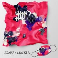 Jilbab motif dan masker headloop ukuran 90x90 cm - Abstrak 6b
