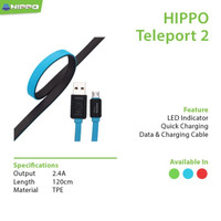 Hippo Kabel Data Charger Teleport 2 Lightning 120CM Cable Data Iphone