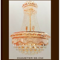 Lampu hias gantung indor crystal clear brown diameter 55cm tinggi 80cm