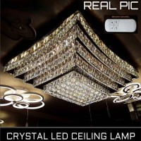 Lampu plafon crystal led 220 watt exclusive plus remote ukuran 95x75cm