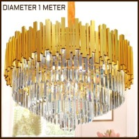 Lampu hias gantung crystal exclusive diameter 100cm variation gold