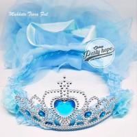 Mahkota Tiara Pengantin BIRU Mahkota Bridal Shower Set Bando dan Veil