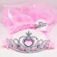 Mahkota Tiara Pengantin PINK Mahkota Bridal Shower Set Bando dan Veil