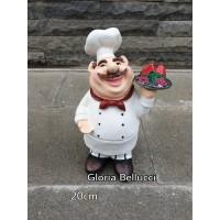 patung pajangan koki buah anggur semangka miniatur chef cafe restoran