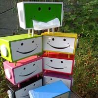 Kotak Tissue Tisu Animasi Karakter Smile Warna Warni