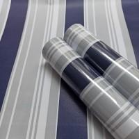 Stripe blue & grey minimalis 45cm x 10mtr ~ Wallpaper sticker dinding