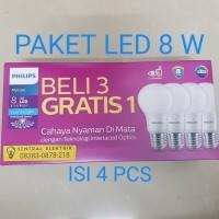 LAMPU PHILIPS LED BULB 8 WATT PAKET BELI 3 GRATIS 1