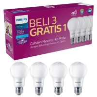 LAMPU PHILIPS LED BULB 10 WATT PAKET BELI 3 GRATIS 1 LAMPU HEMAT ENERG