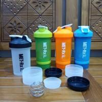 Botol Minum MET-RX Shaker / Botol Minum Shake Olahraga + Tempat Obat