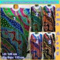 Longdress Kalong Kencana Ungu BIRU Super Jumbo, Daster Batik Jumbo