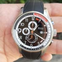 jam tangan pria kondisi baik chronograph stainles steel strap rubber