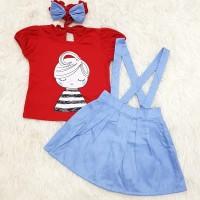 Baju Anak Bayi Perempuan Setelan Anak Bayi Overall Set Bandana Girl