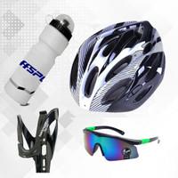 Paket Helm Sepeda dengan botol minum dan kacamata