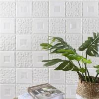 Wallpaper 3D Modern kembang Daun Ukuran 70 X 70 Wall Sticker Putih