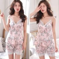 Piyama Wanita Carla Baju Tidur Satin Set Murah Sleepwear Lace Cewek
