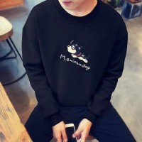 Sweater Kaos Pria O-Neck Longgar Ukuran Besar Lengan Panjang untuk