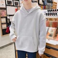 Kaos T-Shirt Hoodie Longgar Lengan Panjang Warna Polos Ukuran Besar
