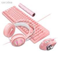 Termurah Wrangler pink girl heart light mechanical keyboard