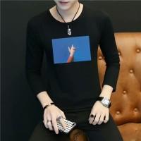 Kaos T-Shirt Lengan Panjang Motif Print Ukuran Besar untuk Pria