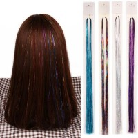 bhy 110cm Holographic Sparkle Woman Hair Glitter Tinsel Extensions
